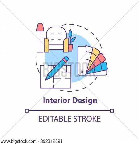 Interior Design Concept Icon. Top Careers For Creative Thinkers. House Flipping. Beautiful Flat Crea
