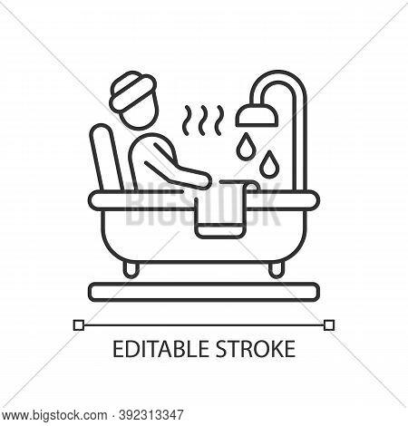 Hot Tub Linear Icon. Steamy Bathtub. Spa Procedure. Pampering Routine. Relax In Bathroom. Thin Line