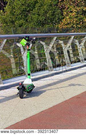 Kyiv, Ukraine-september 26, 2020:one Electric Scooter For Rent By Bolt. E-scooters For Hire Become P