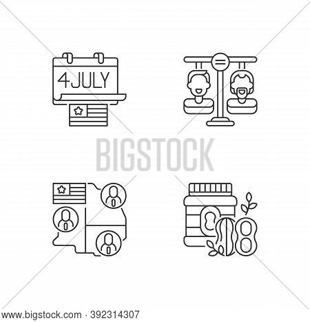 United States Linear Icons Set. Independence Day. Equality Land. Electoral College. Peanut Butter. C