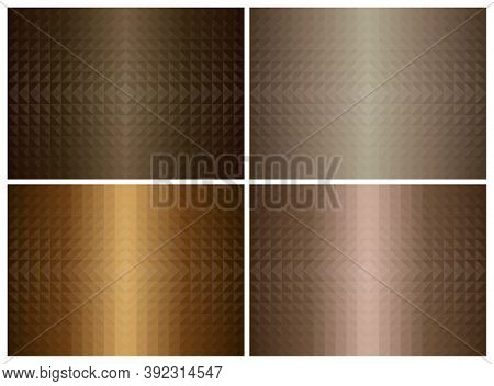Abstract Geometric Triangle Shape Background Set, Brown Color Earth Tone. Cover Pattern Design. Vect