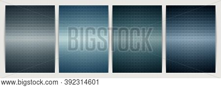 Poster Design Set Abstract Background, Geometric Shape Triangle Pyramid. Earth Tone Blue Color Desig