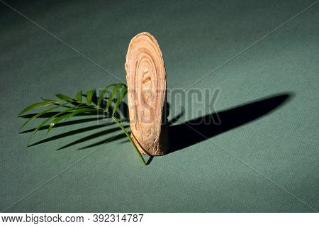 Natural Stone Chalcedony On A Green Background With Hard Shadows