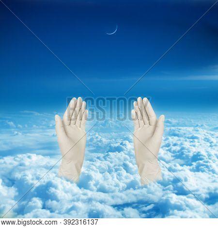 Muslim Prayer With Wearing Hand Gloves , Eid Mubarak Corona, Corona Eid, Corona Virus Eid, Corona Vi