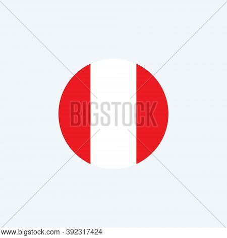 Peru Round Flag Icon. National Peruvian Circular Flag Vector Illustration Isolated On White.
