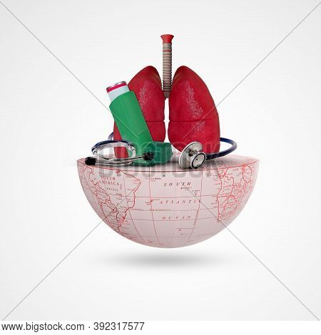 Asthma Day, World Asthma Day,asthma Inhaler, Lung, Stethoscope, On Half Earth, Respiratory Disease S
