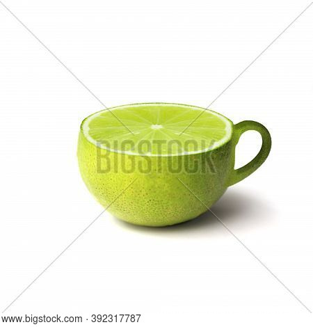 Cup Of Hot Aromatic Lemon Tea On White Background, Warm Cup Of Green Tea And Organic, Tea Ad, Health