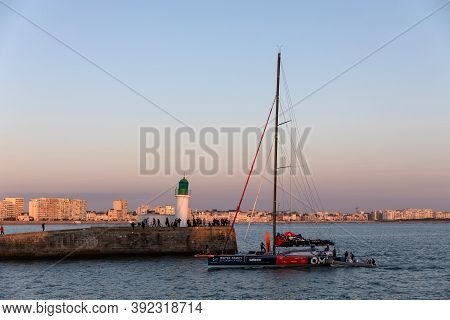 Les Sables D'olonne, France - October 30, 2020: Benjamin Dutreux Boat (omia - Water Family) In The C