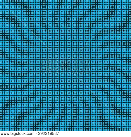Minimal Blue Black Halftone Background. Circles, Dots Of Various Diameters In The Form Of Circular W