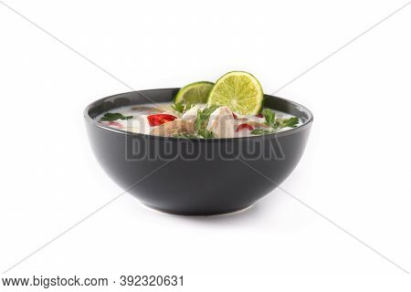 Traditional Thai Food Tom Kha Gai And Ingredients Isolated On White Background