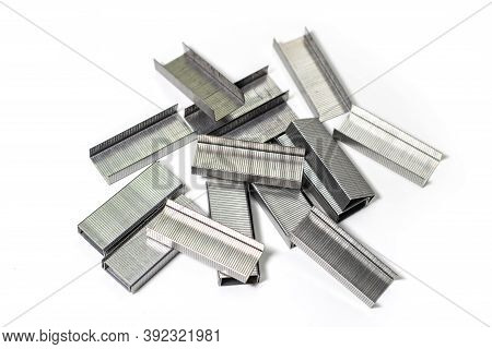 Metal Staples Isolate On White Background. Close Up