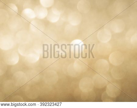 Light Bokeh White  Golden Shine Glitter Background, Abstract Blur. Empty Glow White Glitter Particle