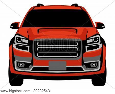 Red Crossover Off Road Truck, Vector Illustration, Front View, Flat Style