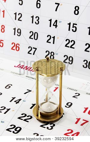Hourglass On Calendar Page