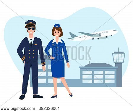 Pilot And Stewardess Near Airport With Flying Plane. Vector Illustration.