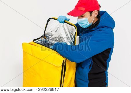 Delivery Man Send Food Bag For Contactless Or Contact Free From Delivery Rider In Front House For So
