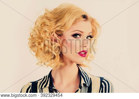 Woman With Red Lips. Vogue Style. Retro Vintage Concept. Red Lips. Enjoying The Moment. Gestures For