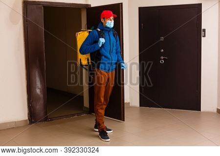 Delivery Man Send Food Bag At Door For Contactless Or Contact Free From Delivery Rider In Front Hous