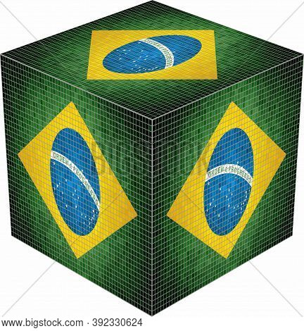 Brazil Cube - Illustration,  Abstract Grunge Mosaic Flag Of Brazil