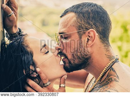 Couple In Love Kissing. Concept Of Sensual And Intimate Moment Of Lovers. Sensual Kiss. Passion And