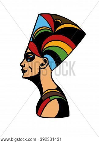 Art Tattoo Picture Of Woman Side View. Egyptian God, Queen. Colorful Tattoo. Ancient Egypt Mythology