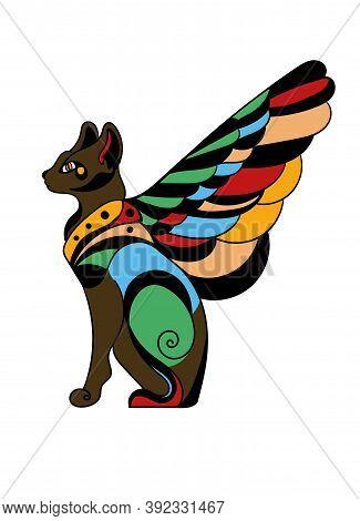 Art Tattoo Picture Of Cat. Egyptian God. Colorful Tattoo. Ancient Egypt Mythology. Ancient Civilizat