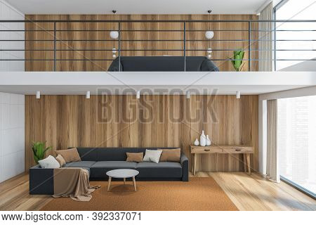 Wooden Living Room With Big Grey Sofa And A Bed On The Second Floor, Home With Two Floors. 3d Render
