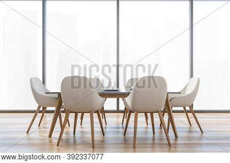 Bright Kitchen Room With A Big Window And Six White Chairs With Wooden Legsm One White Kitchen Table