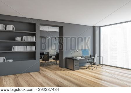 Grey Office Room, Secretary And Meeting Room With A Large Window Blank Mockup. Minimalist Stylish In