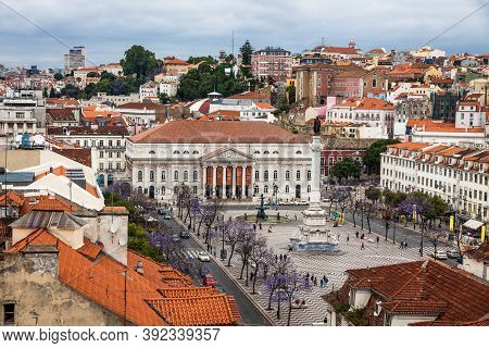 Lisbon, Portugal - June 10, 2013: Skyline Aerial View Of Lisbon Old City, Portugal. View To Rossio S