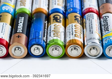 Moscow, Russia - January 05, 2016: Used Alkaline Batteries Aa Size Format Of Different Brands Ready