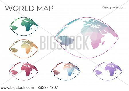 Low Poly World Map Set. Craig Retroazimuthal Projection. Collection Of The World Maps In Geometric S