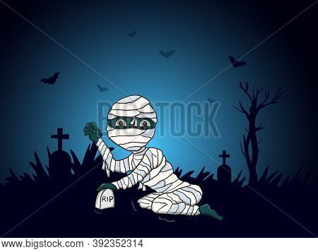 Illustration Vector Graphic Of Mummy Perfect To Banner, Icon, Poster, Card, Etc.
