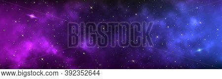Space Background Wide. Realistic Cosmos With Shining Stars. Long Banner With Starry Milky Way. Magic