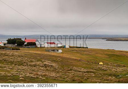 Stanley, Falkland Islands, Uk - December 15, 2008: Windswept Rural Green Landscape With Red-roofed W
