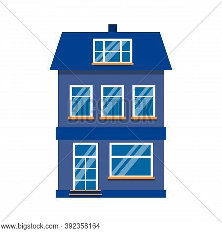 Single Icon Cartoon House Colorful Architecture Amsterdam. Flat Urban Building Tall Town And Suburba