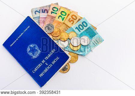 Brazil Work And Money Portfolio On White Background. Translation, Federative Republic Of Brazil, Min