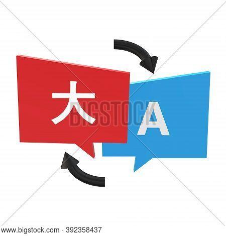 3d Online Language Translator Icon. Translate Sign. Translating Concept. Foreign Language Conversati