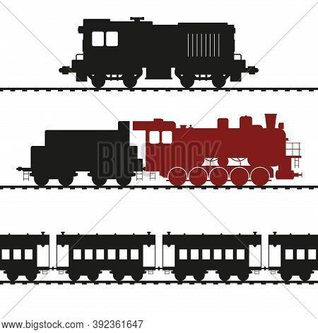 Old Locomotives, Shunting Locomotive And Steam Locomotive With Tender. Vintage Wagons. Vector Illust