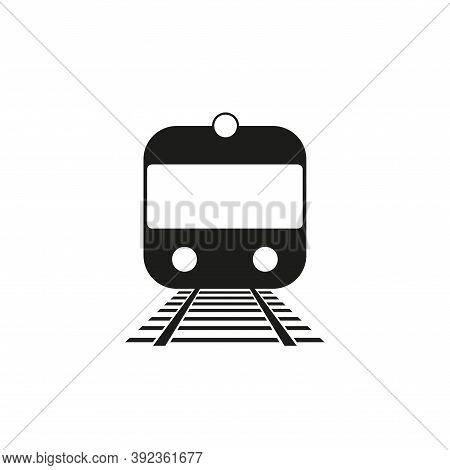 Subway, Metro, Suburban Train Vector Icon Monochrome. Isolated On White.