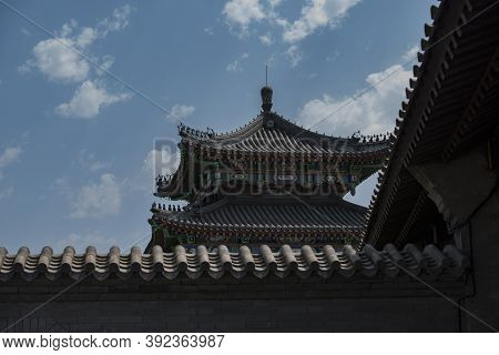 The Courtyard Wall And The Buildings Outside The Courtyard Of Traditional Residential Buildings In N