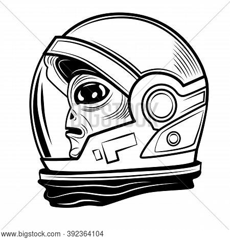 Alien In Spacesuit Vector Illustration. Cute Character, Cosmic Visitor, Humanoid. Fantasy And Fictio