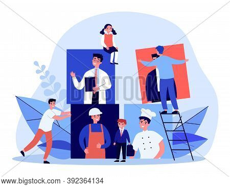 Happy Pupils Choosing Career. Doctor, Engineer, Cook Flat Vector Illustration. Occupation And Future