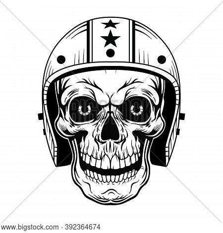 Vintage Skull In Helmet Vector Illustration. Monochrome Dead Head Of Biker. Tattoo Design And Motorc