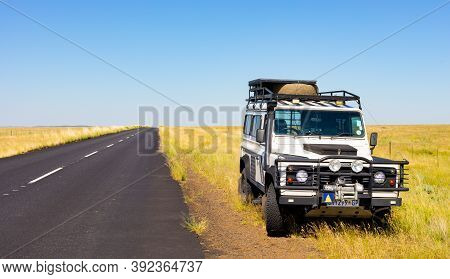 Old Land Rover Defender In The Countryside Of South Africa