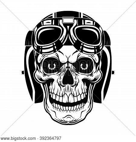 Black Skull Of Pilot Vector Illustration. Vintage Dead Head In Protective Helmet With Googles. Tatto