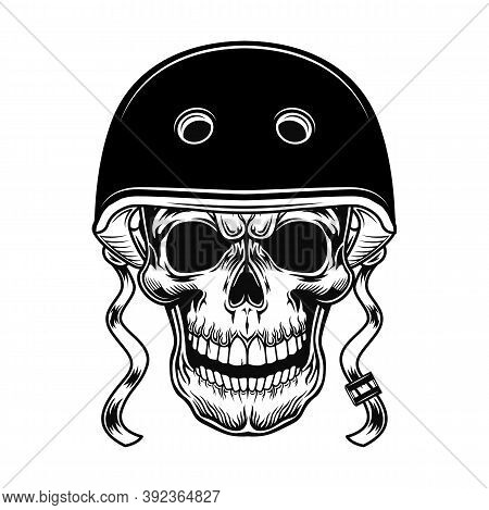 Skull Of Biker Vector Illustration. Head Of Character In Helmet For Riding Motorcycle. Lifestyle Con