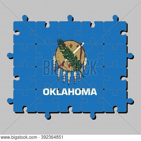Jigsaw Puzzle Of Oklahoma Flag In Buffalo-skin Shield With Seven Eagle Feathers On A Sky Blue Field.