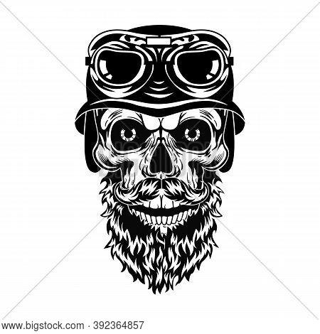 Monochrome Bearded Skull Of Hipster Vector Illustration. Retro Dead Head In Helmet With Glasses. Tat