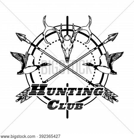 Sport Hunting Club Label Vector Illustration. Weapon Sight, Crossed Arrows, Aim And Text. Hunting An